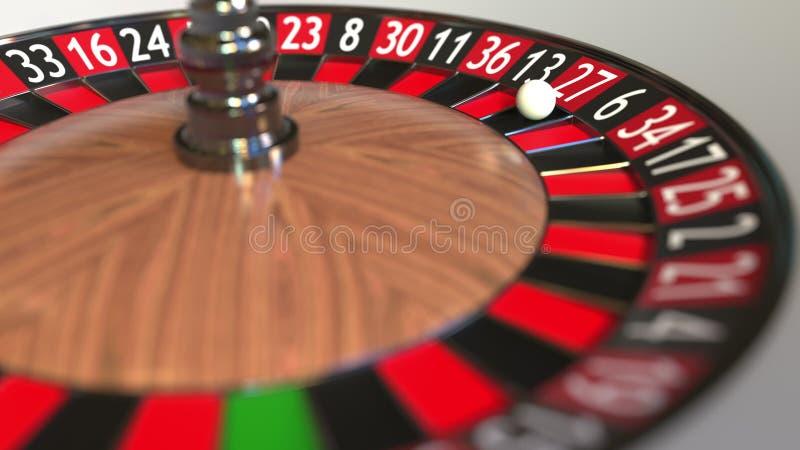 La boule de roue de roulette de casino frappe 27 vingt-sept rouges rendu 3d illustration de vecteur