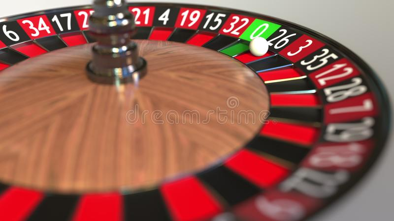 La boule de roue de roulette de casino frappe 26 vingt-six noirs rendu 3d illustration stock