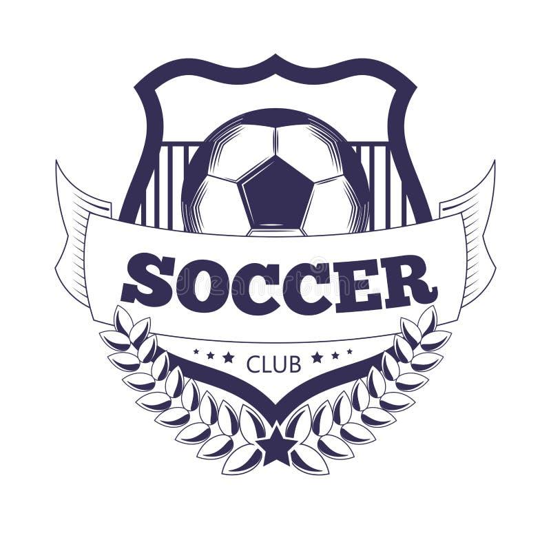 La boule de vecteur de club ou de Ligue de Football du football, étoile s'envole l'emblème d'icône de vecteur de ruban illustration stock