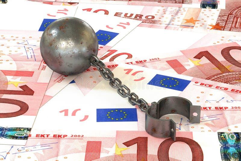 La boule et la chaîne rouillées de fer se sont reliées à la manchette ouverte se trouvant sur des euros illustration de vecteur