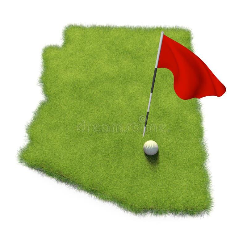 La boule et le mât de drapeau de golf sur le putting green de cours ont formé comme l'état de l'Arizona illustration libre de droits