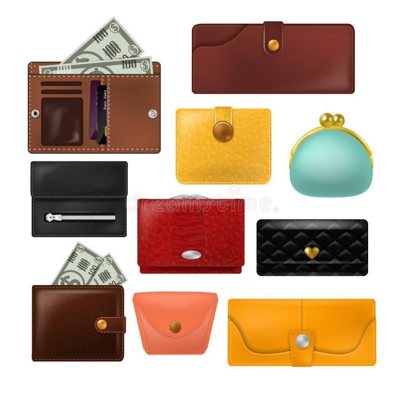 La bourse de cuir de vecteur de portefeuille et le portefeuille d'affaires avec l'ensemble d'illustration d'argent de billets de  illustration stock
