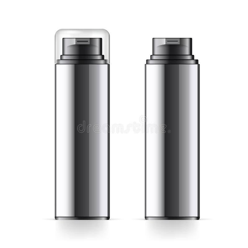 La bouteille cosmétique noire réaliste peut récipient de pulvérisateur illustration stock
