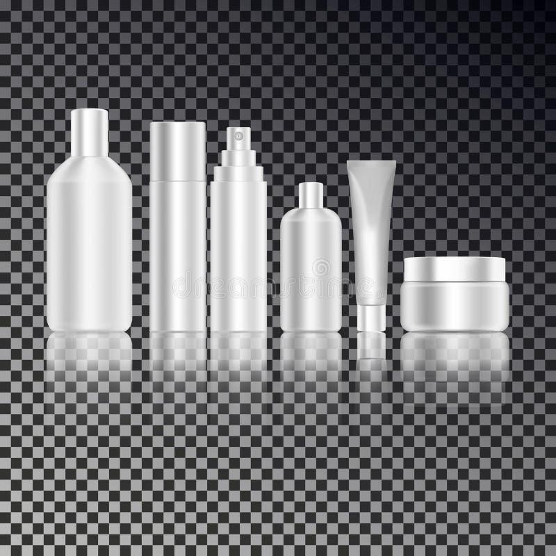 La bouteille cosmétique a placé pour le liquide, crème, gel, lotion Paquet de produit de soin pour la peau Bouteilles de maquette illustration de vecteur