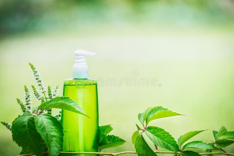 La bouteille cosmétique verte de produit pour la peau, le corps ou les soins capillaires avec le vert part au fond vert de nature photos stock