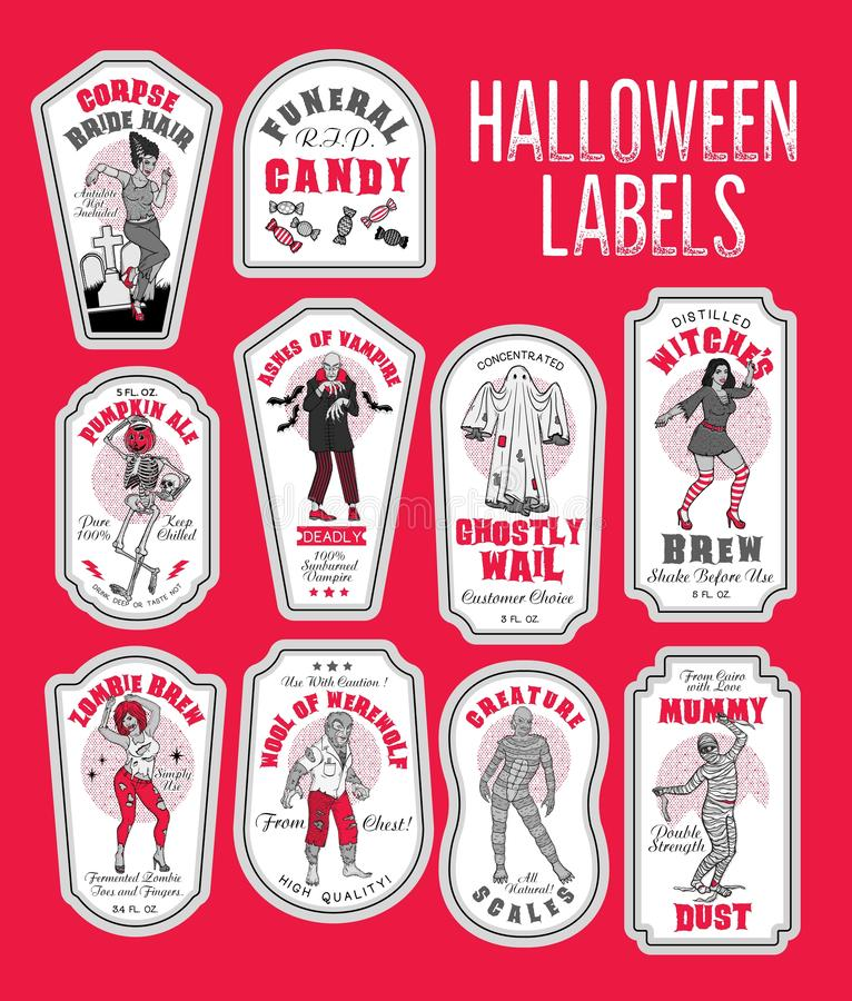 La bouteille de Halloween marque des labels de breuvage magique avec des monstres illustration de vecteur