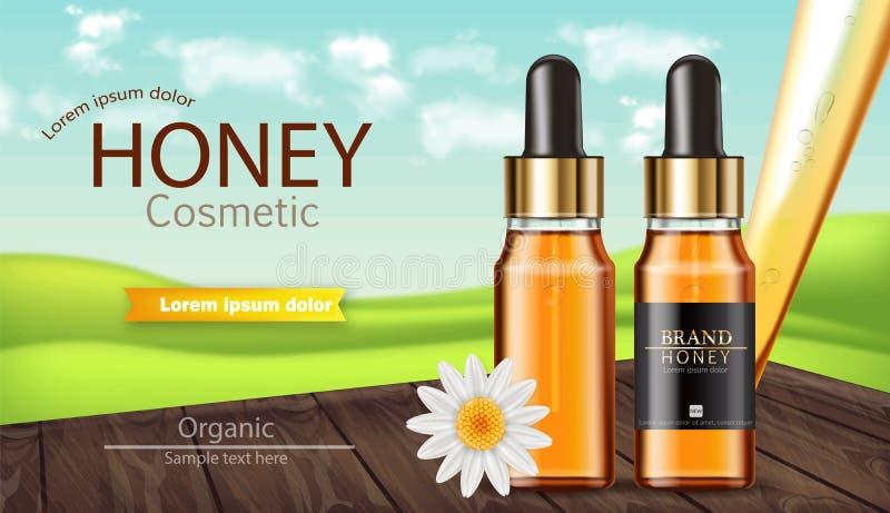 La bouteille de sérum de miel dirigent réaliste moquerie de placement de produit  Paquet de conception de label Fond de nature 3d illustration de vecteur