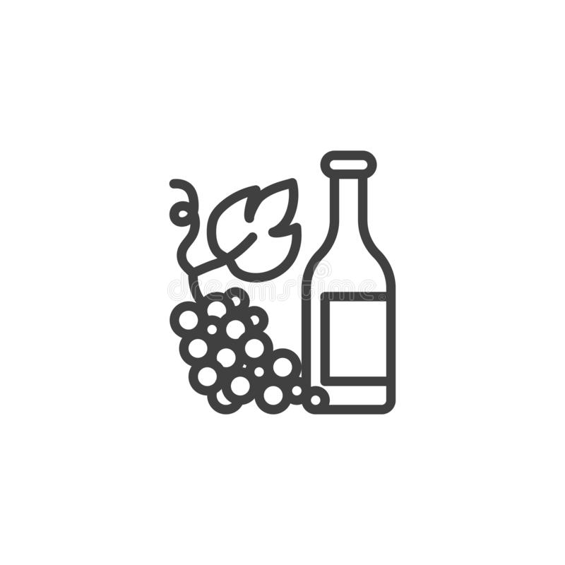 La bouteille de vin avec des raisins rayent l'icône illustration stock