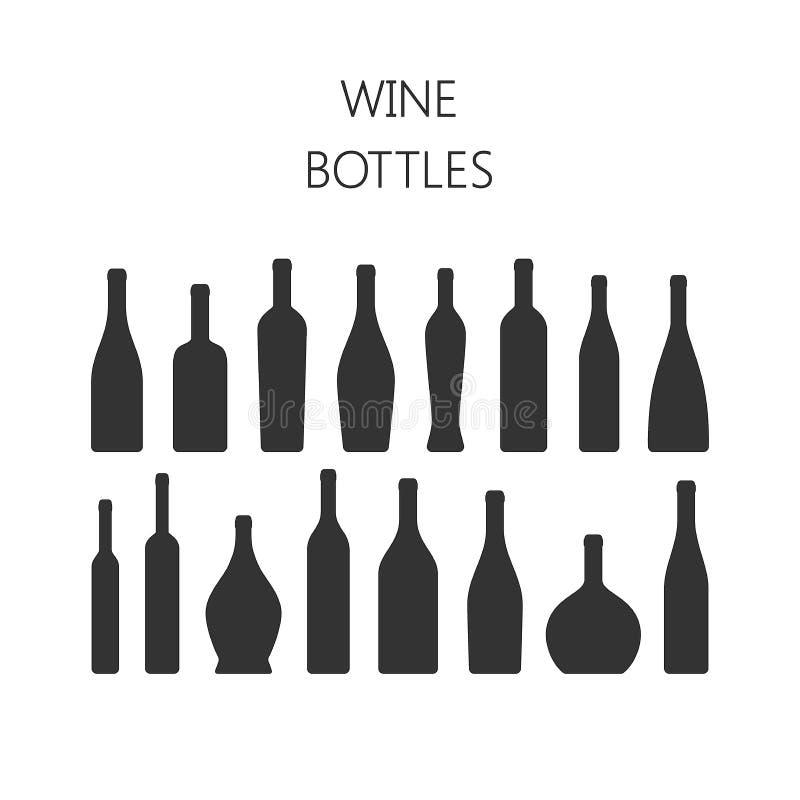 La bouteille de vin dactylographie des icônes de vecteur de silhouette illustration stock