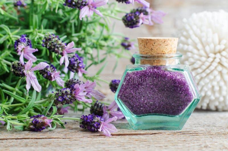 La bouteille en verre de cru avec l'exfoliation de sel de bain de lavande d'arome frottent, pied imbibent Fleurs complétées de la photos stock