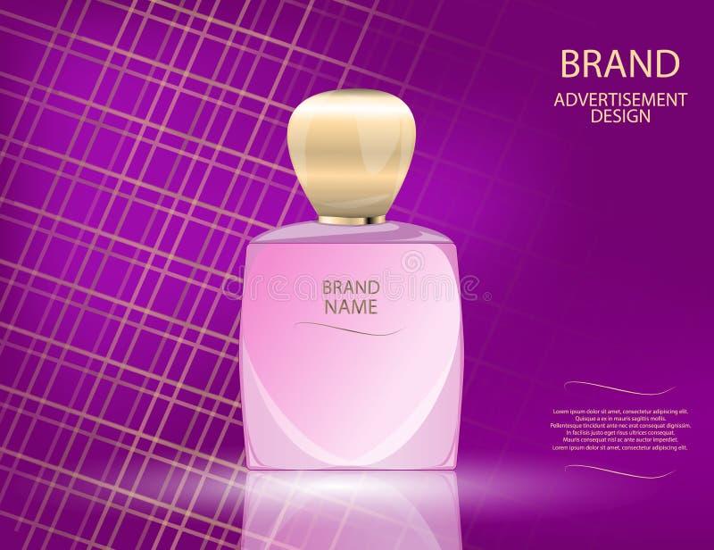 La bouteille en verre de parfum fascinant sur le scintillement effectue le fond Illustration réaliste de vecteur de la maquette 3 illustration stock