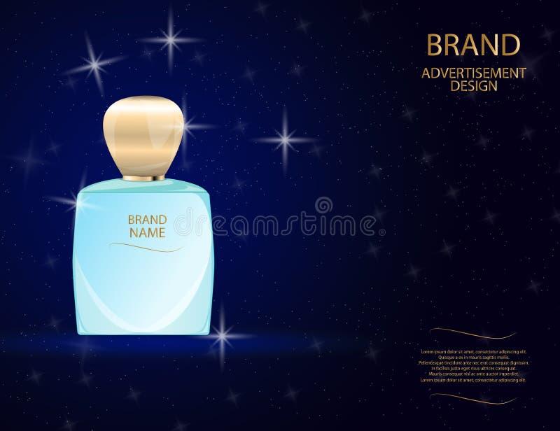 La bouteille en verre de parfum fascinant sur le scintillement effectue le fond Illustration réaliste de vecteur de la maquette 3 illustration libre de droits