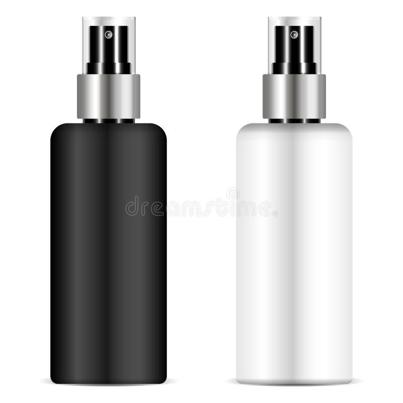 La bouteille noire et blanche de pulvérisateur a placé avec le couvercle transparent pour pour le cosmétique, parfum, désodorisan illustration libre de droits