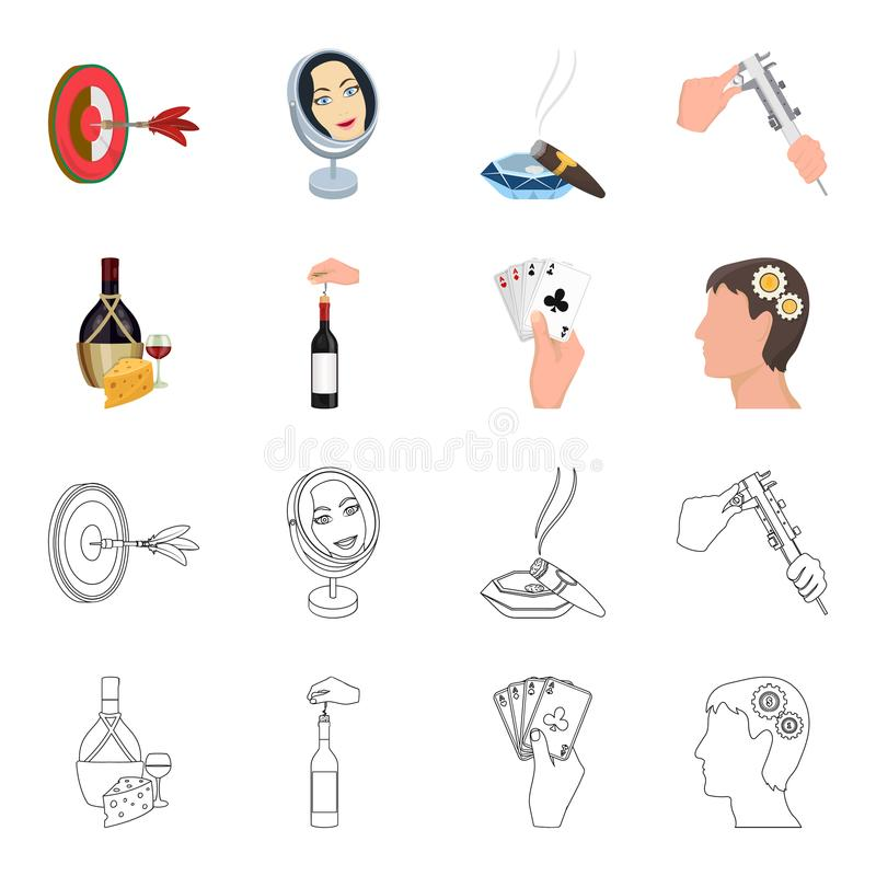 La bouteille, un verre de vin et le fromage, obstruant avec un tire-bouchon et toute autre icône de Web dans la bande dessinée, d illustration libre de droits