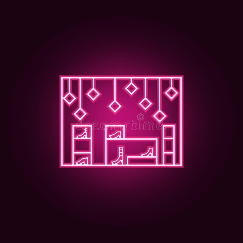 la boutique chausse l'icône d'ensemble Éléments de centre commercial de mail dans les icônes au néon de style Icône simple pour d illustration libre de droits