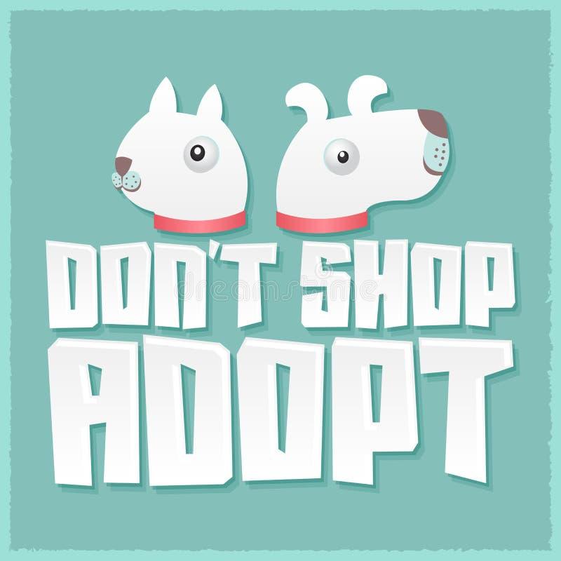 La boutique de DonÂ't adoptent - dirigez le concept d'animal familier d'adoption illustration de vecteur
