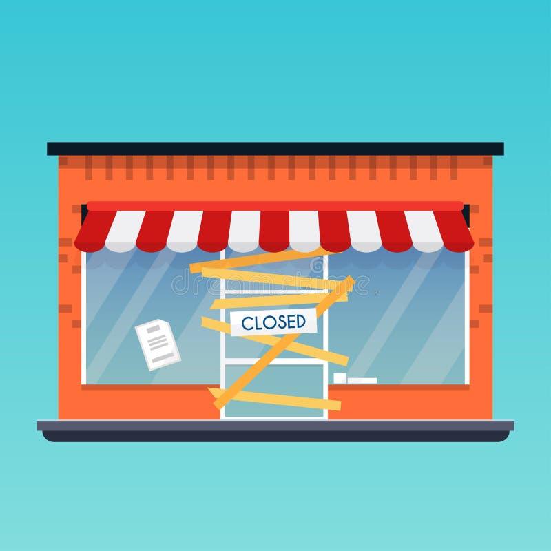 La boutique de magasin est fermée/ruine Affaires modernes de vecteur de conception plate illustration libre de droits