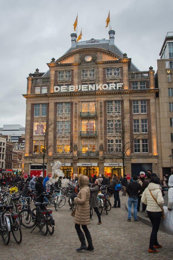 La boutique la plus ancienne DE BIJENKORF de la meilleure qualité AMSTERDAM photo stock