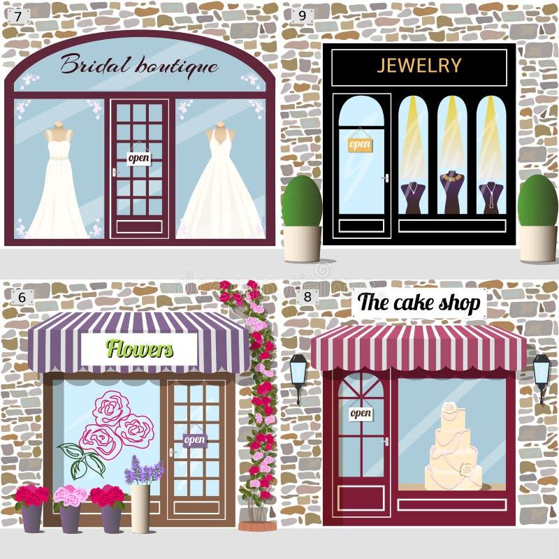 La boutique nuptiale, les bijoux, les fleurs et le gâteau font des emplettes illustration stock