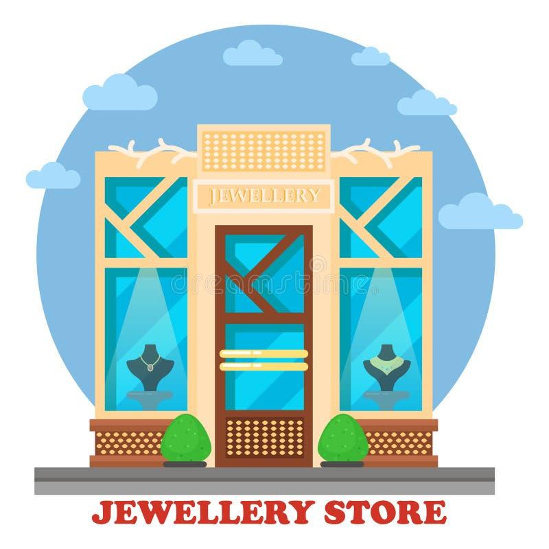 La boutique ou le magasin de bijoux avec des ornements maneken dessus illustration stock