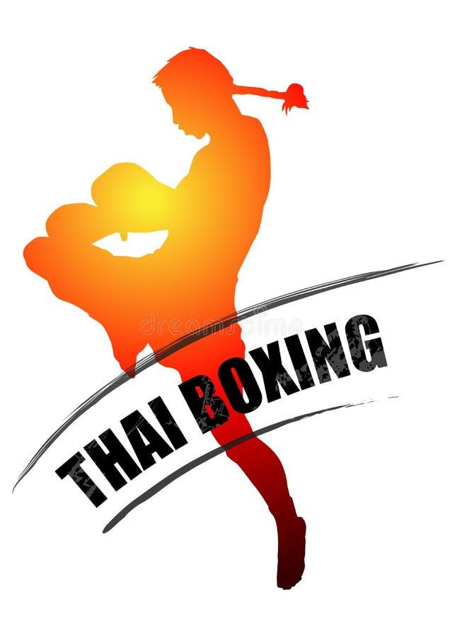 La boxe thaïlandaise donne un coup de pied avec le typo thaïlandais muay grunge illustration libre de droits