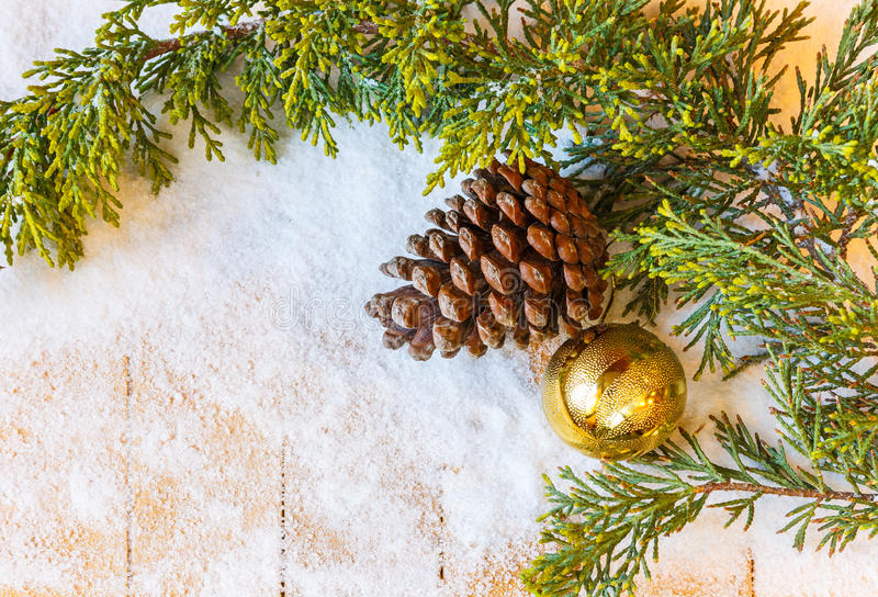 La branche d'arbre de Noël, les cônes de pin et le sapin jouent dans la neige image libre de droits