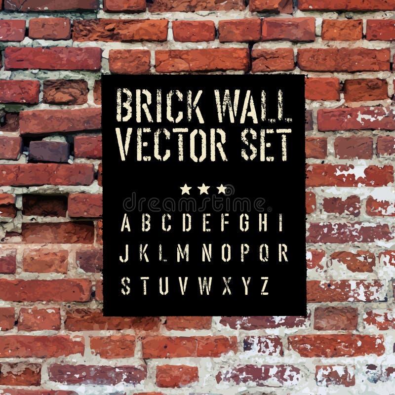 La brique a tracé la texture, l'alphabet de pochoir et le rectangle de grunge illustration libre de droits
