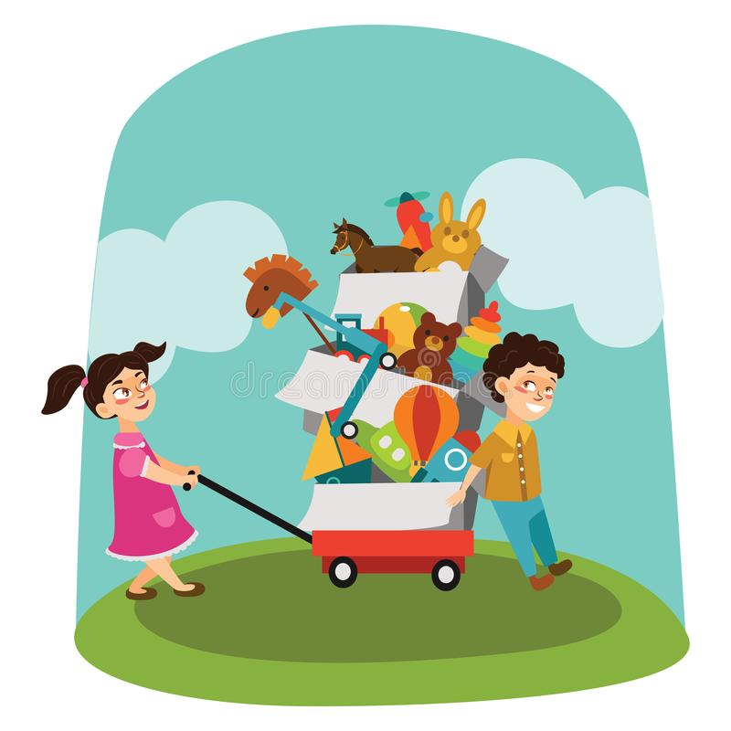 La brocante à domicile, le garçon et la fille ont acheté des jouets à la vente de ressort, enfants portent le chariot avec des bo illustration stock