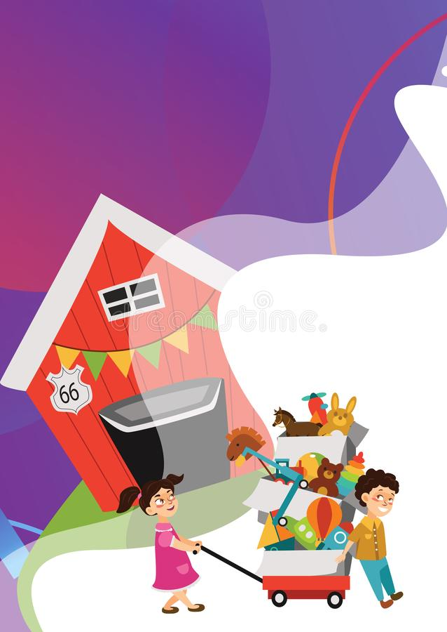 La brocante ? domicile, le gar?on et la fille ont achet? des jouets ? la vente de ressort, enfants portent le chariot avec des bo illustration libre de droits