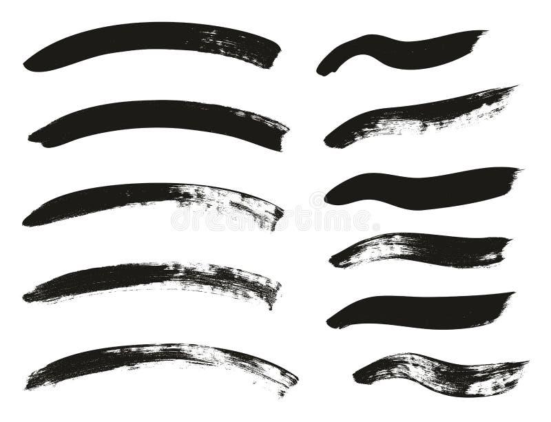 La brocha de la caligrafía curvó líneas arriba detalla el fondo abstracto del vector fijó 110 stock de ilustración