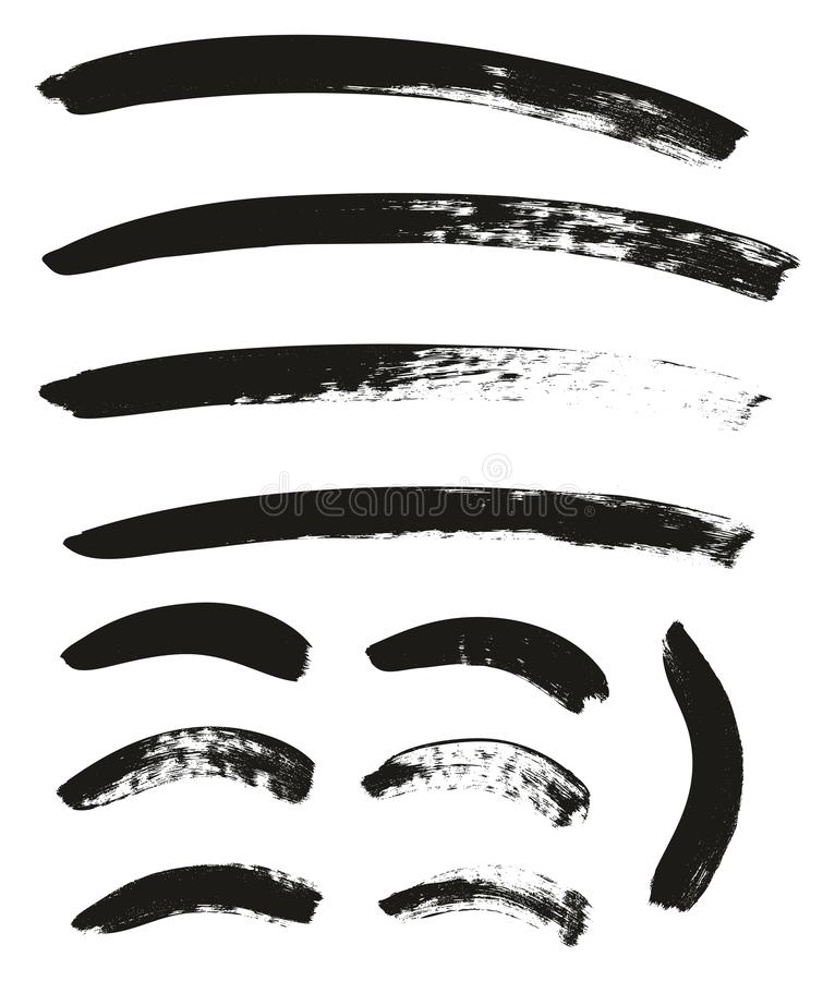 La brocha de la caligrafía curvó líneas arriba detalla el fondo abstracto del vector fijó 79 libre illustration