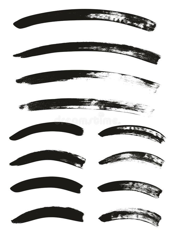 La brocha de la caligrafía curvó líneas arriba detalla el fondo abstracto del vector fijó 73 stock de ilustración