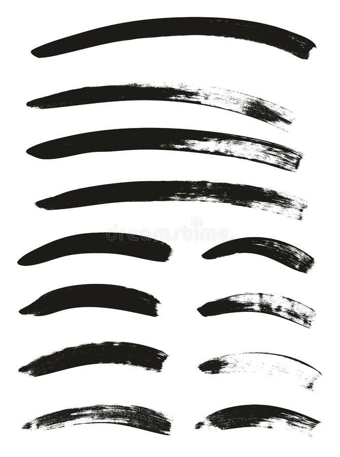 La brocha de la caligrafía curvó líneas arriba detalla el fondo abstracto del vector fijó 70 ilustración del vector