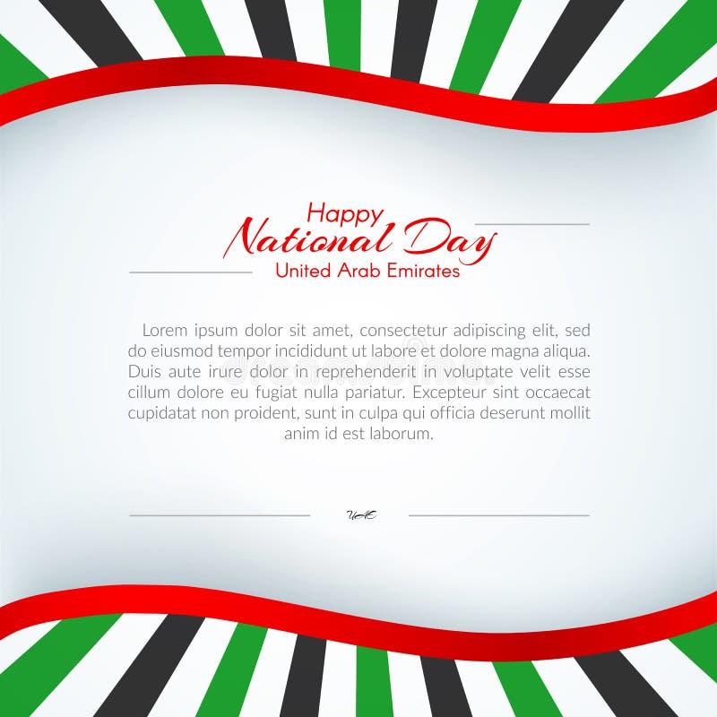La brochure avec des lignes d?pouille des couleurs du drapeau national des Emirats Arabes Unis EAU avec le texte du jour national illustration de vecteur