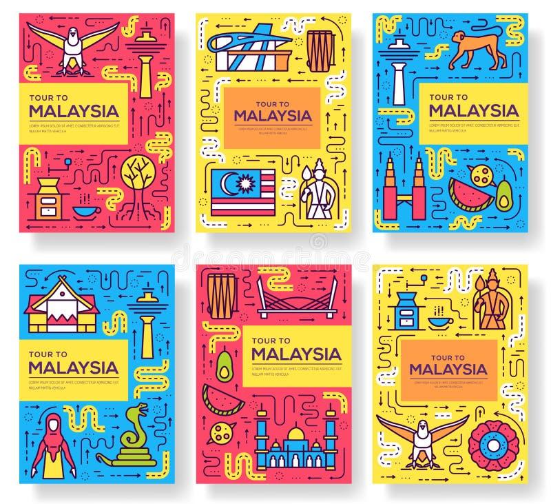 La brochure de vecteur de voyage de la Malaisie de pays carde la ligne mince calibre d'architecture de flyear, magazines, affiche illustration de vecteur