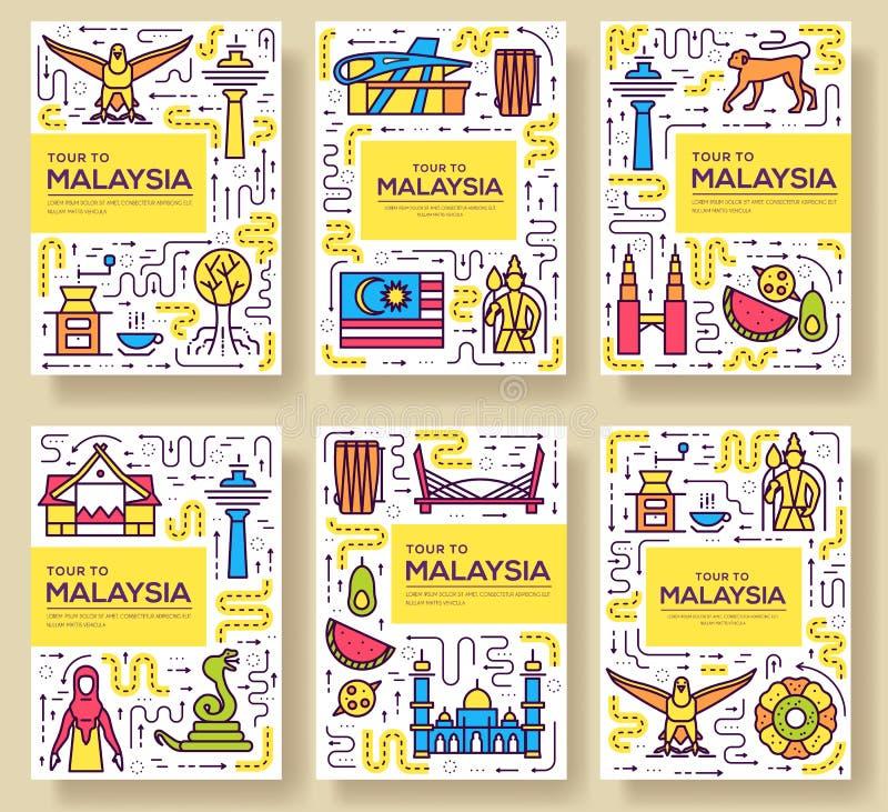 La brochure de vecteur de voyage de la Malaisie de pays carde la ligne mince calibre d'architecture de flyear, magazines, affiche illustration libre de droits