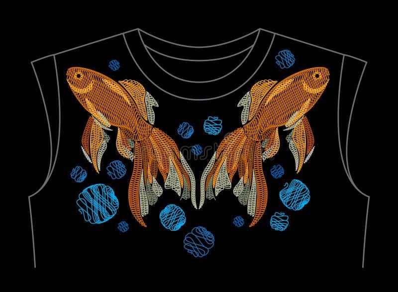 La broderie avec les poissons d'or sur le cou rayent la chemise Or brodé illustration libre de droits