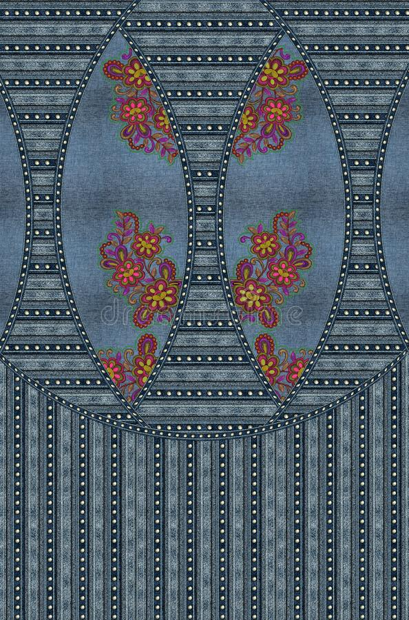 La broderie de jeans fleurit la texture bleue photos libres de droits