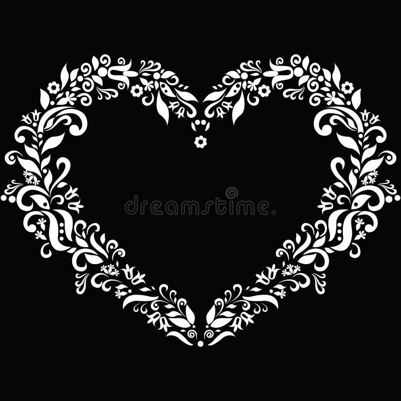 La broderie a inspiré la forme de coeur dans le blanc avec les éléments floraux sur le fond noir illustration stock