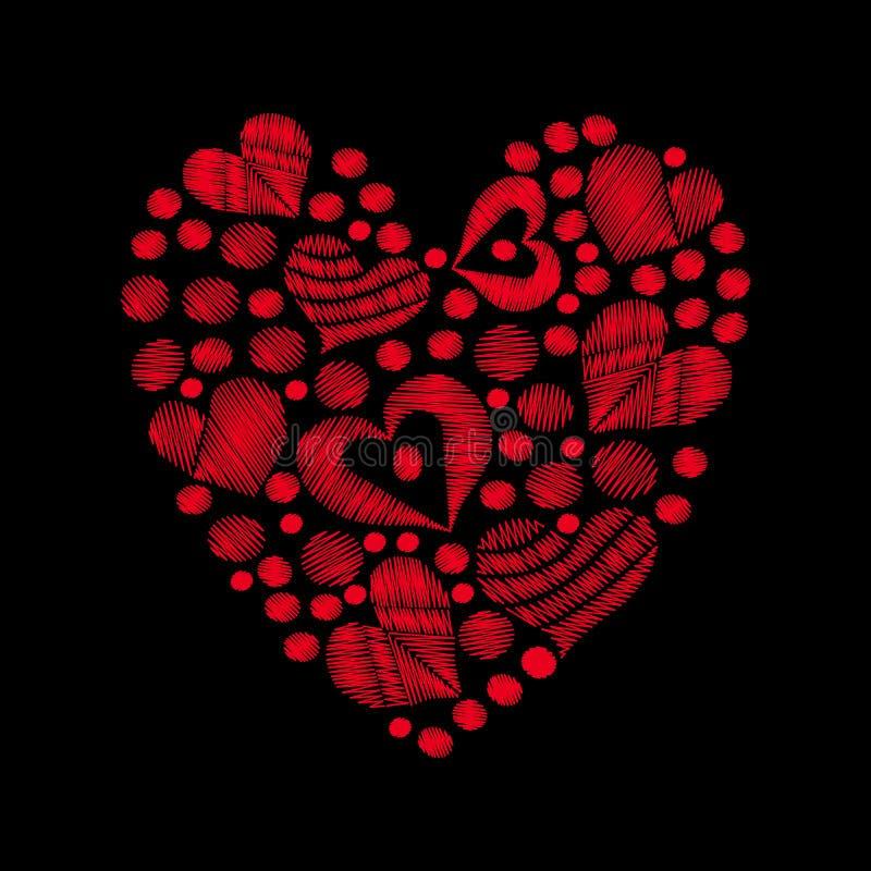 La broderie rouge r?gl?e de coeur pique l'imitation sous la forme de coeur sur le fond noir illustration libre de droits