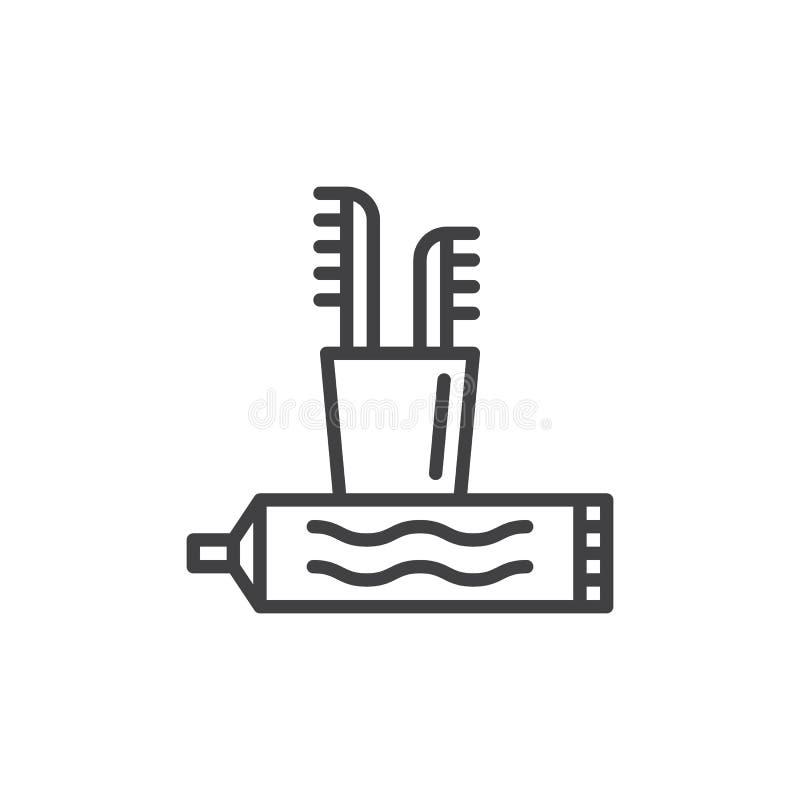 La brosse à dents et la pâte dentifrice rayent l'icône, signe de vecteur d'ensemble illustration libre de droits