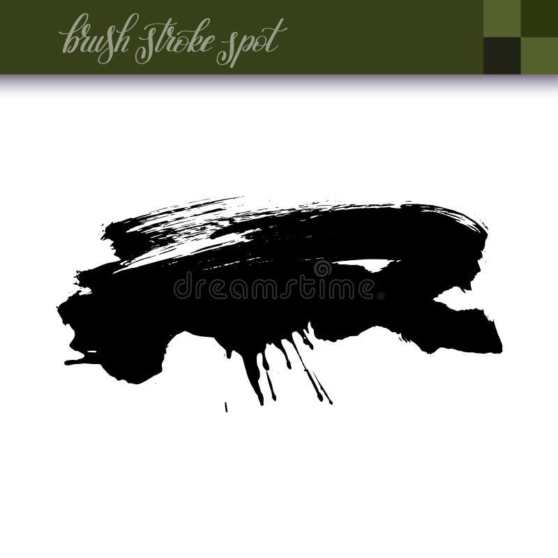 La brosse à l'encre noire abstraite de dessin de main frotte l'élément de tache illustration stock