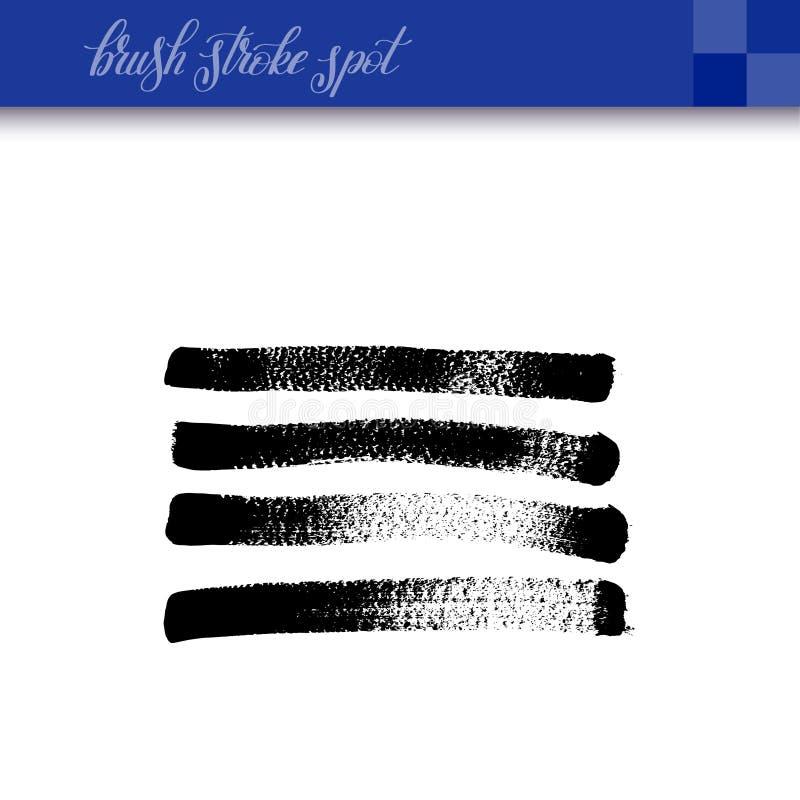 La brosse abstraite à l'encre noire de dessin de main frotte l'isola d'élément de tache illustration stock