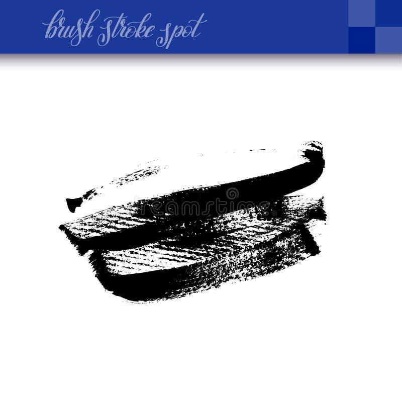 La brosse abstraite à l'encre noire de dessin de main frotte l'isola d'élément de tache illustration libre de droits