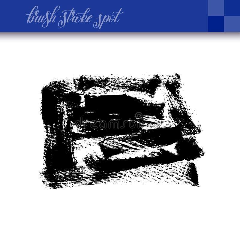 La brosse abstraite à l'encre noire de dessin de main frotte l'isola d'élément de tache illustration de vecteur