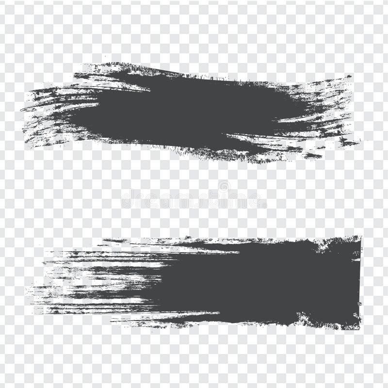 La brosse abstraite frotte la texture gris-foncé sur le fond transparent courses avec les bords approximatifs secs illustration libre de droits