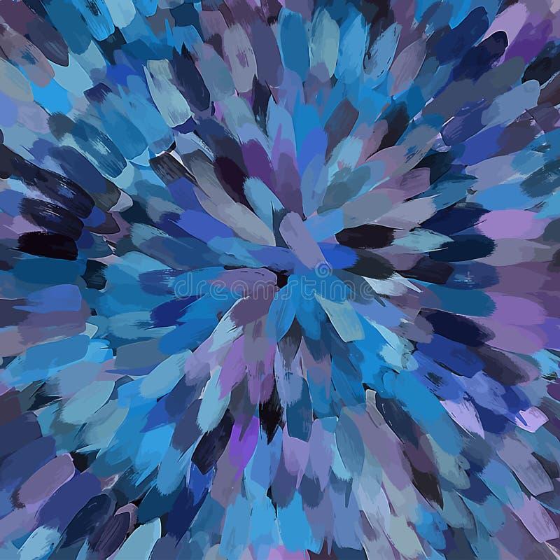 La brosse bleue de fleur frotte le fond Version de vecteur illustration libre de droits