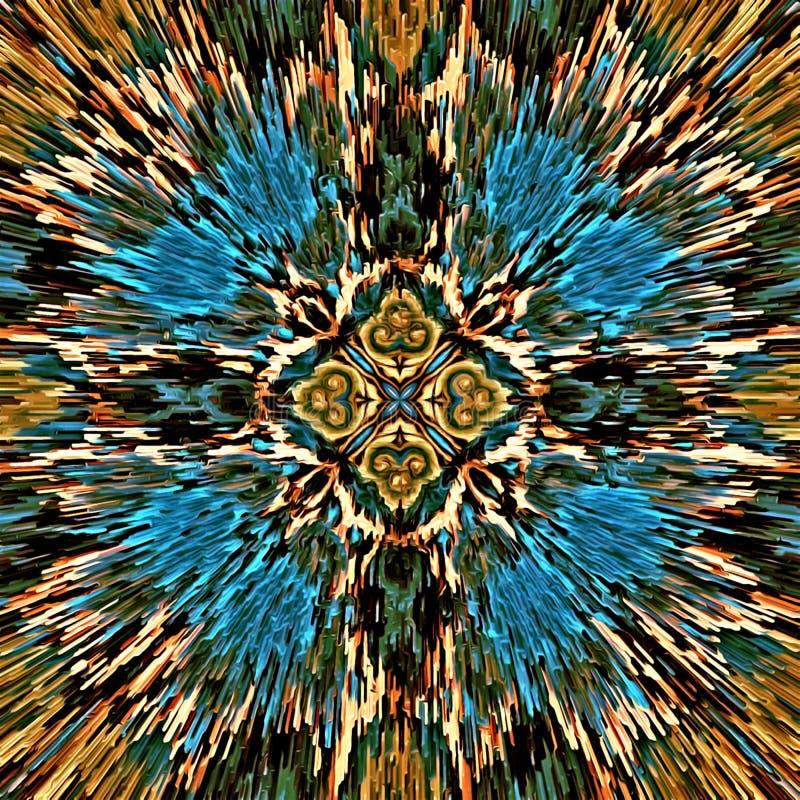 La brosse chaotique de couleur d'abrégé sur illustration d'ordinateur de mosaïque psychédélique symétrique de fond frotte des pin illustration stock