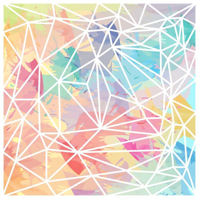 La brosse colorée de papier peint abstrait de triangles frotte le vecteur illustration libre de droits