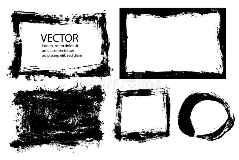 La brosse grunge abstraite frotte le cadre avec la texture de bords approximatifs Ensemble de l'illustration EPS10 illustration libre de droits